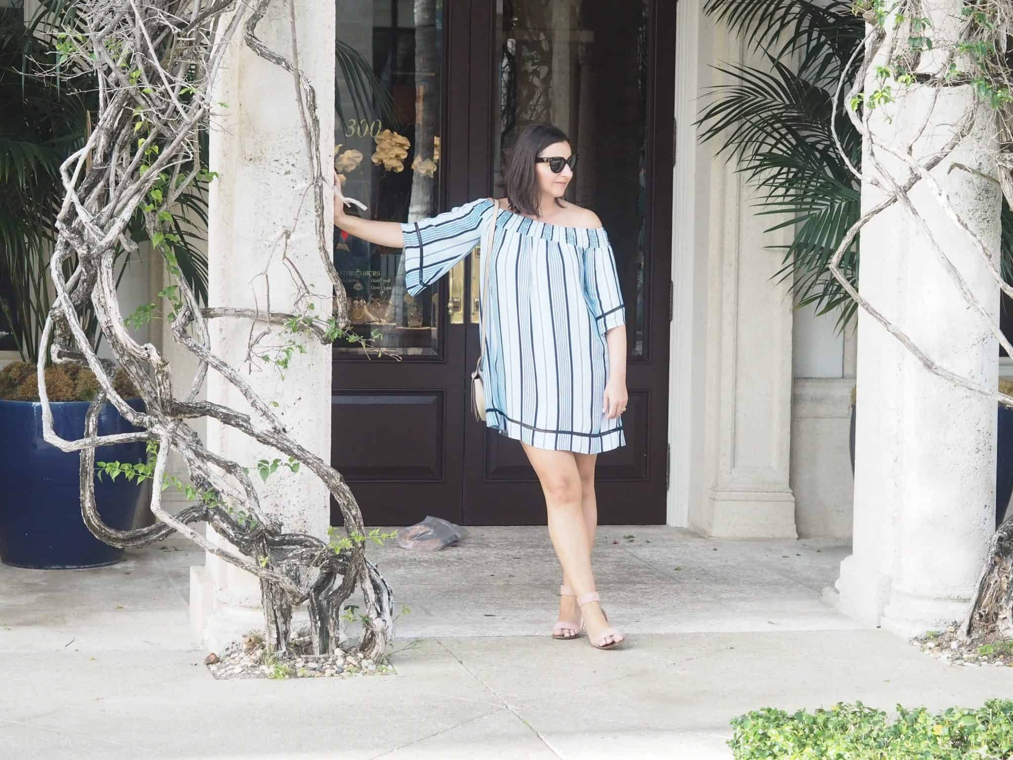 Off the shoulder striped dress Palm Beach