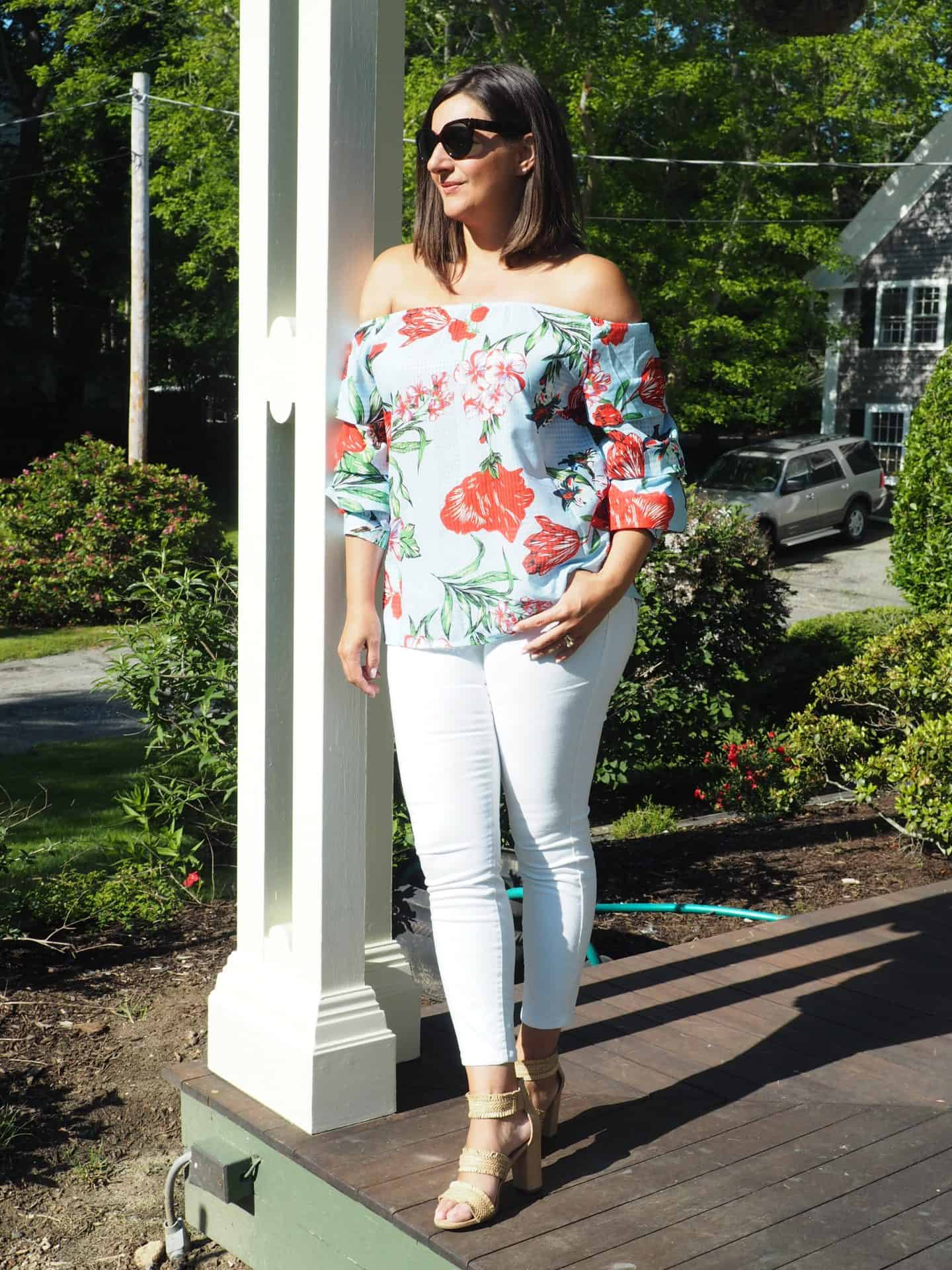 Floral Print Top with Tiered Sleeves