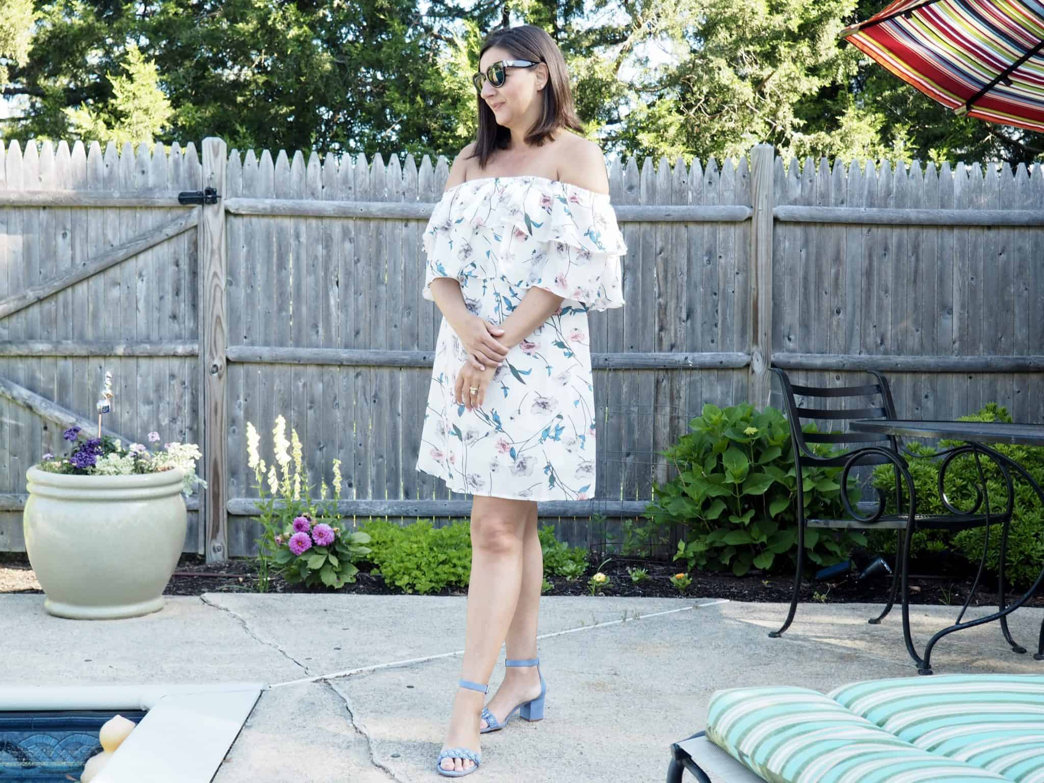 Botanical Print Ruffle Dress