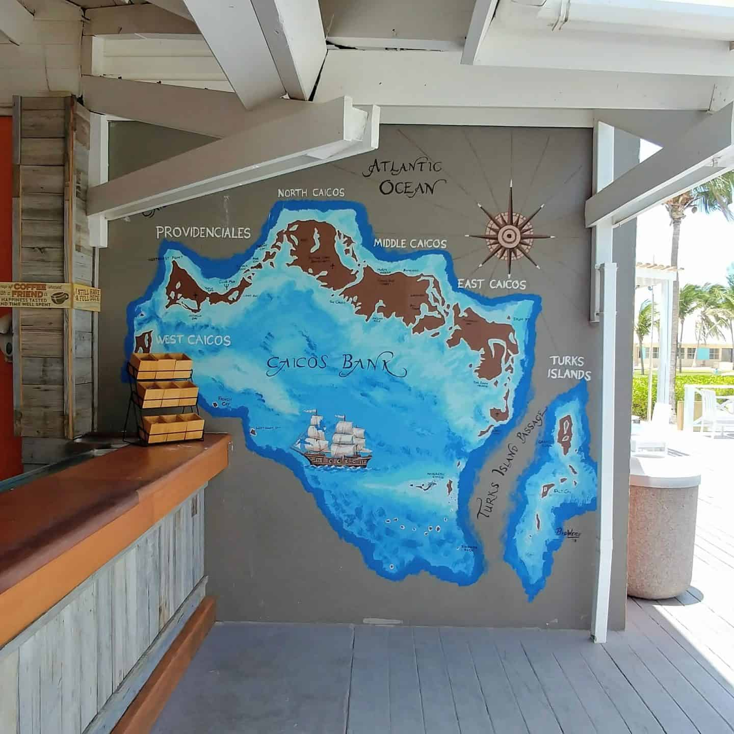 Club Med Turks and Caicos Resort sign of blue Turks and Caicos island map