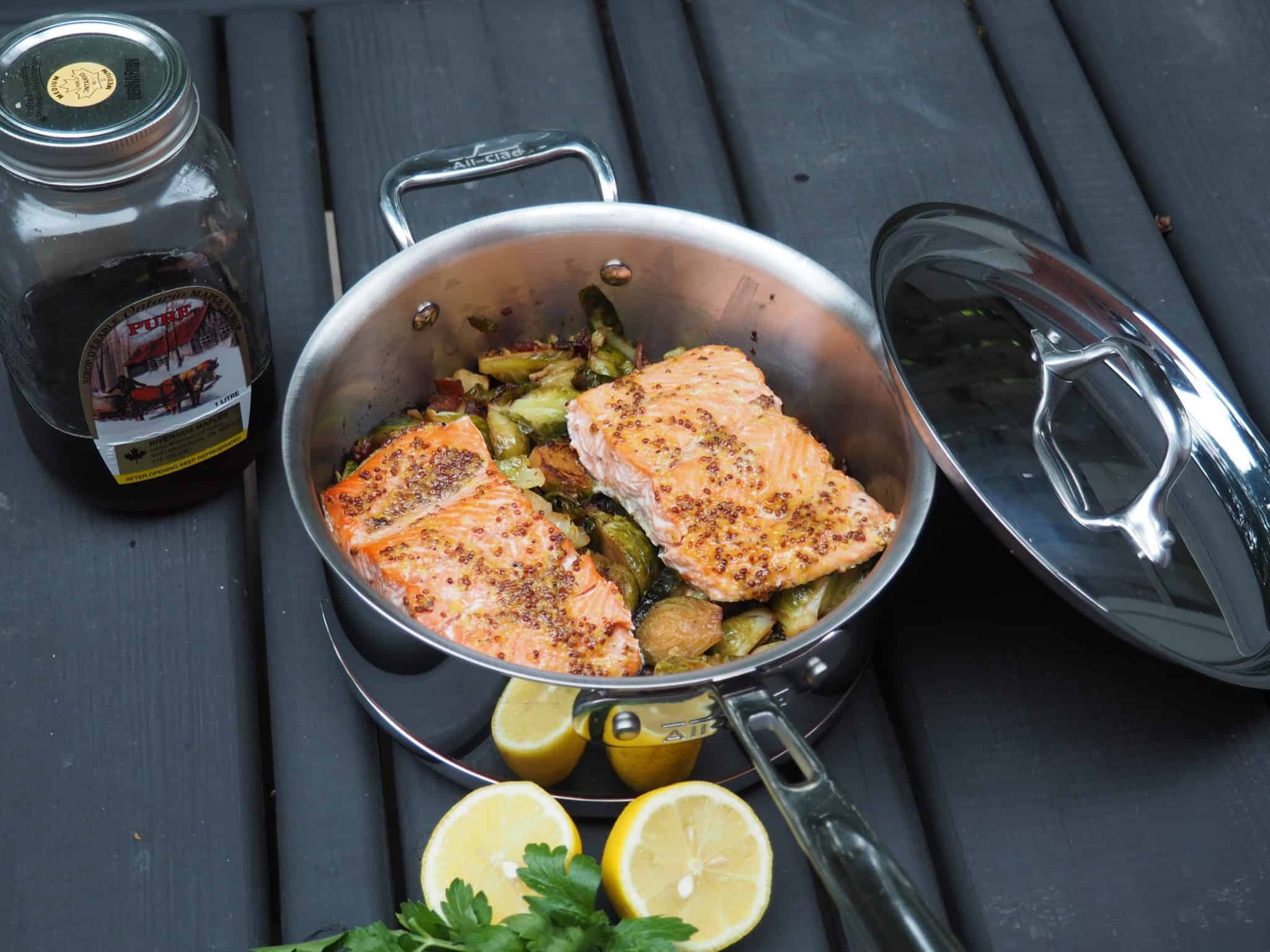 Maple Mustard-Glazed Salmon with Roasted Maple Bacon Brussels Sprouts