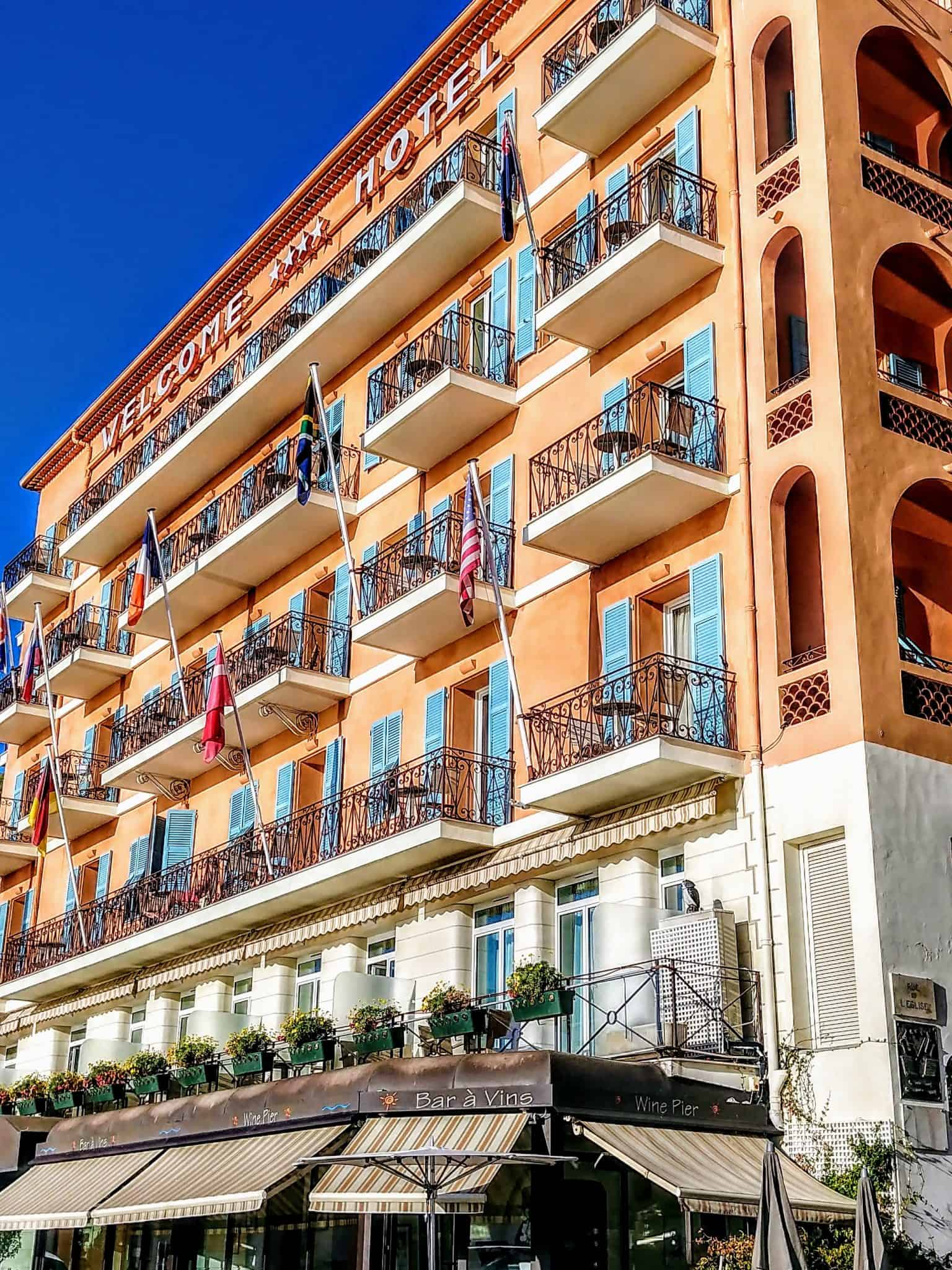 Welcome Hotel Villefranche Sur Mer France Front of hotel with balconies