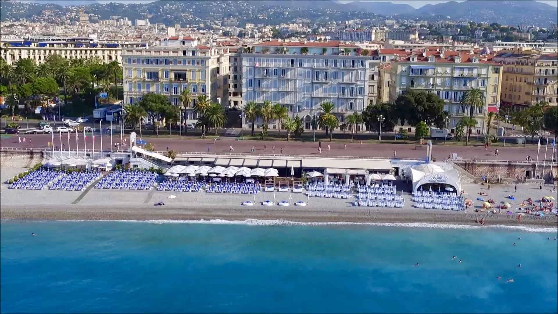 Plage Beau Rivage Nice aerial view