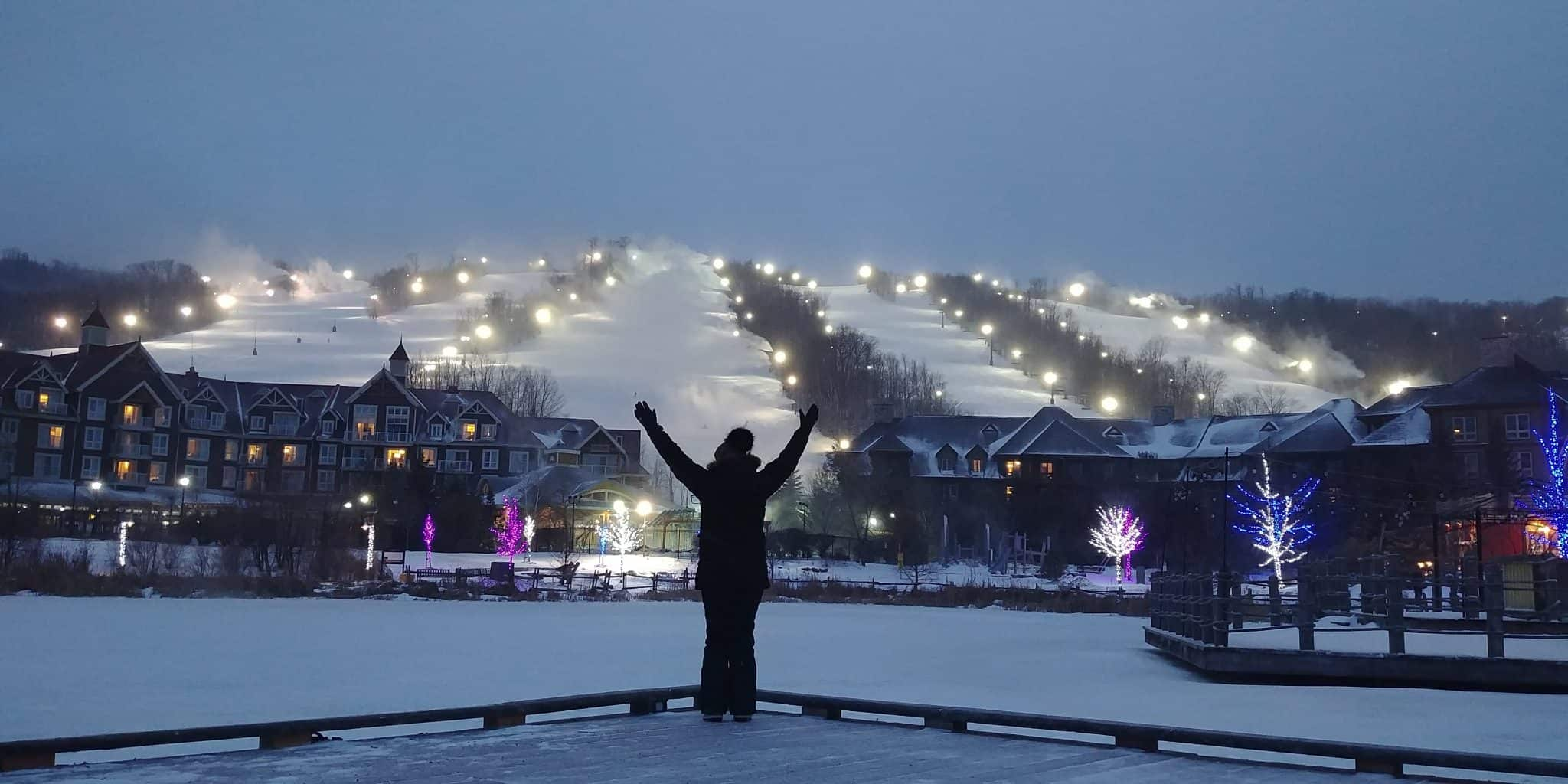 Blue Mountain Ontario Canada at night mountain ski hills with lights night skiing