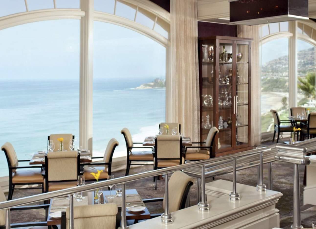 Raya Ritz Carlton Laguna Niguel interior with big windows and ocean views