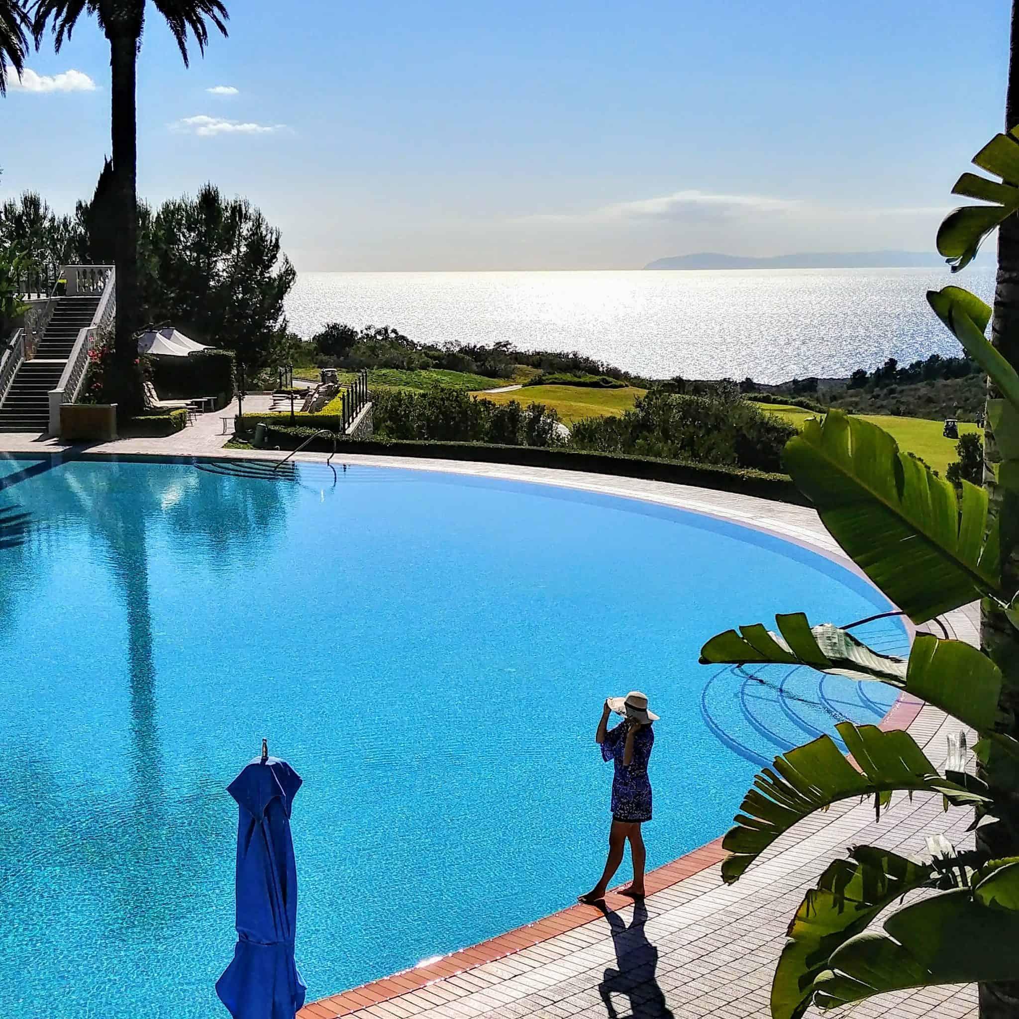 Pelican Hill California pool with beach views