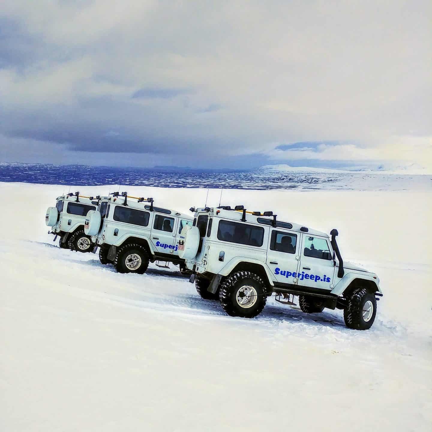 iceland super jeep on glacier