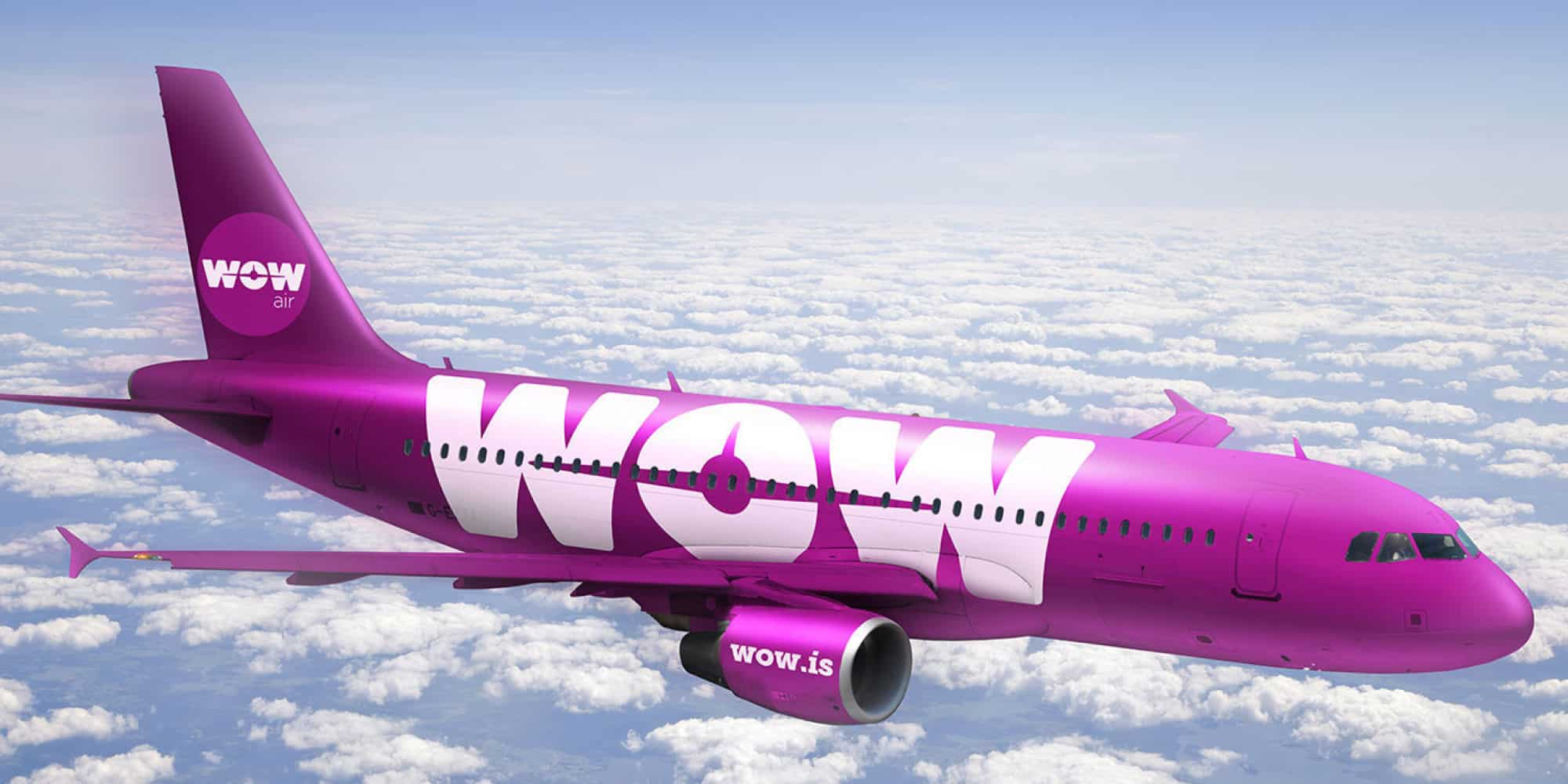 wow airlines big purple air plane