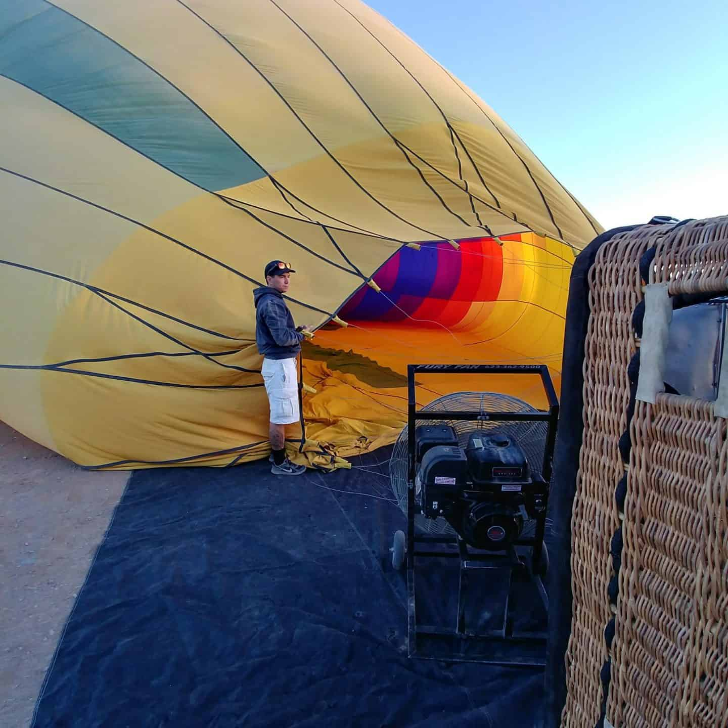 Hot Air Balloon Ride With Hot Air Expeditions Arizona hot air balloon getting filled with hot air