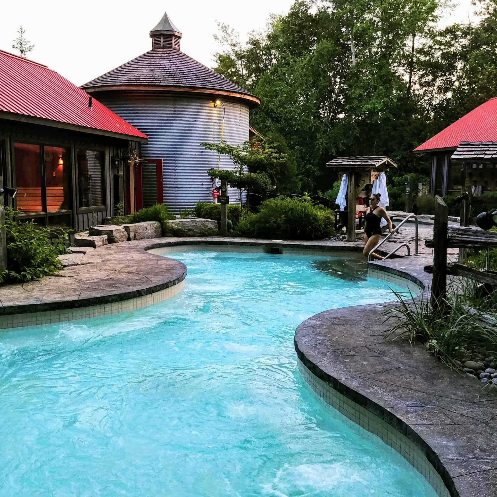 Summer Serenity at Scandinave Spa entering baths swimsuit forest views
