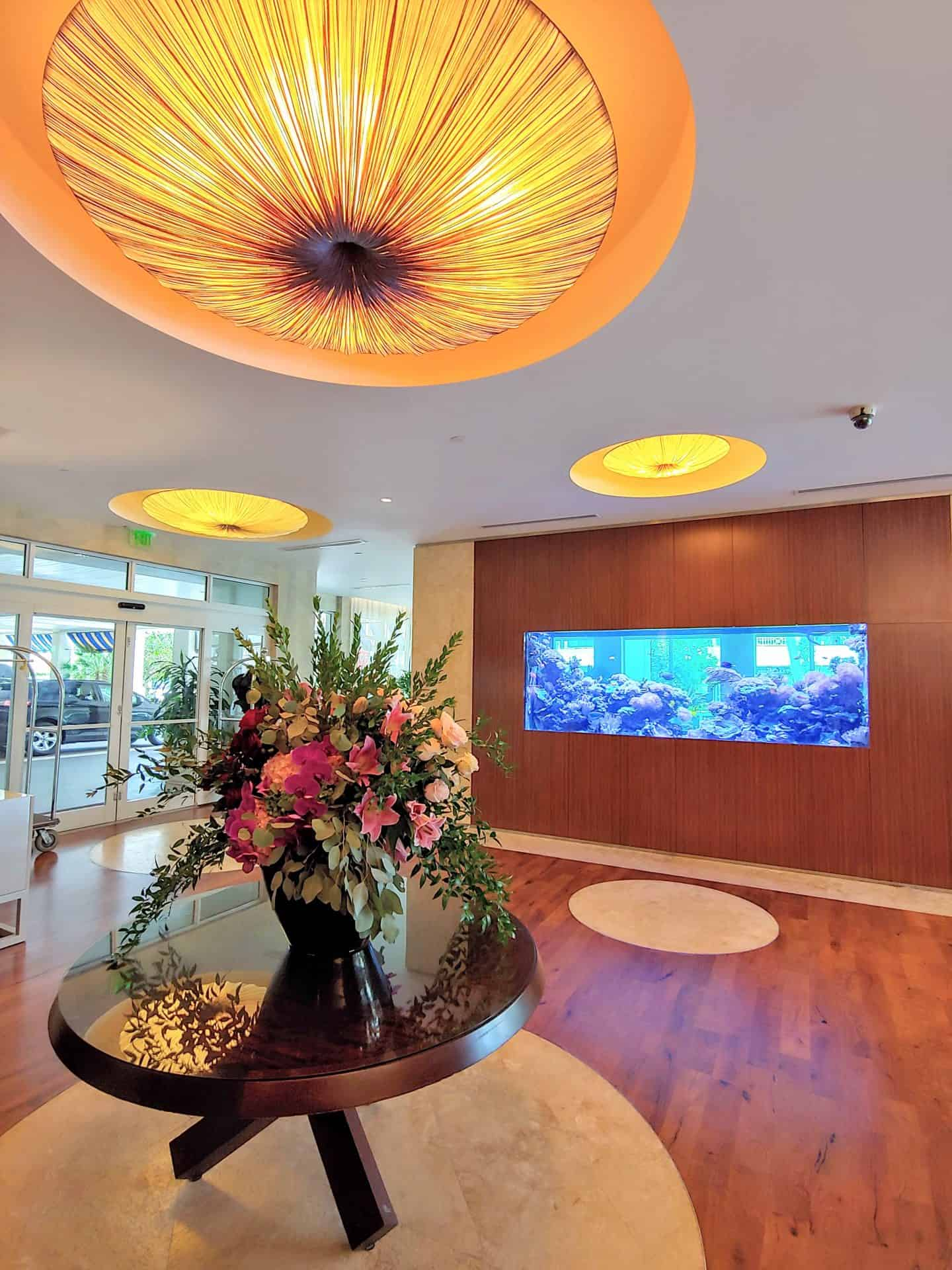 Lobby entrance with fish tank