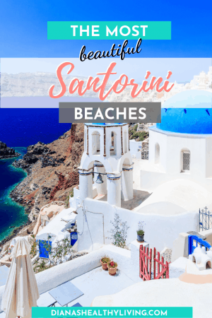 white washed buildings with blue roof tops overlooking ocean in Santorini Greece