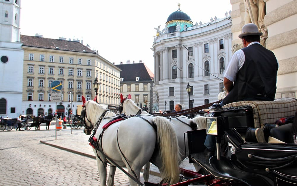 horse and carriage riding through old Vienna