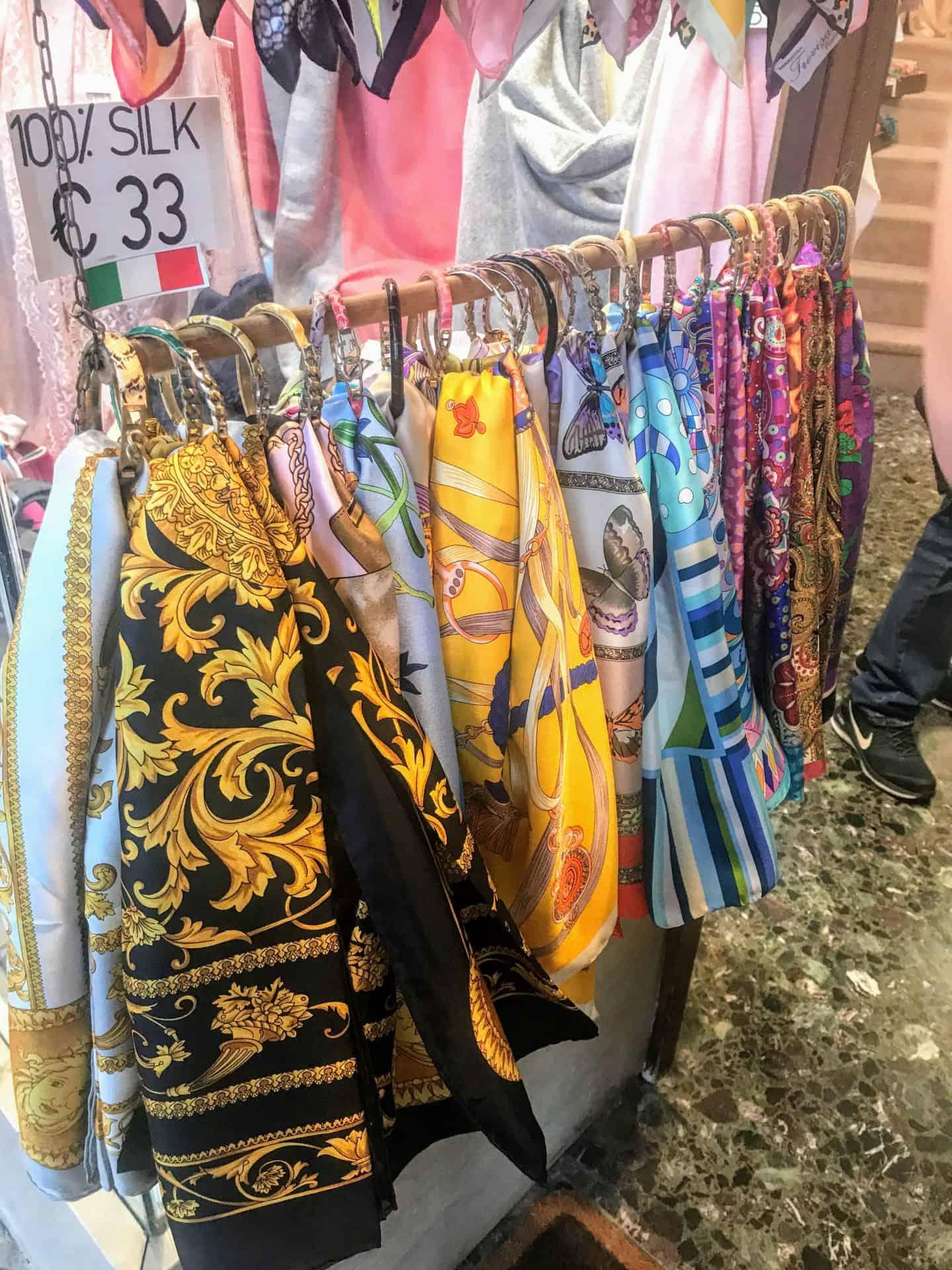 Italy souvenirs silk scarf
