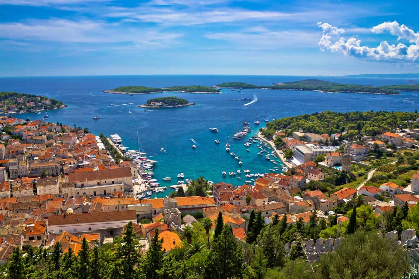 Island of Hvar bay aerial view, Dalmatia, Croatia