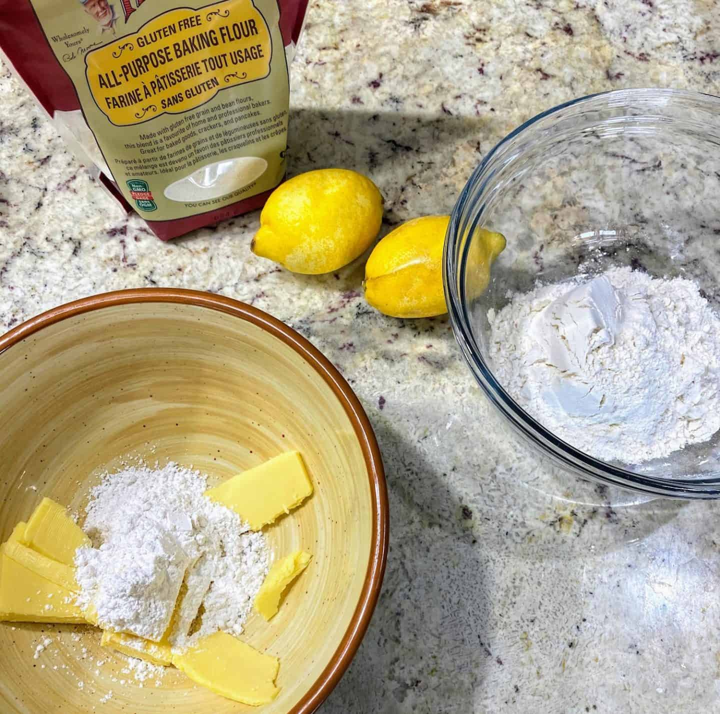 gluten free lemon bars with Bob's Red Mill all purpose gluten free baking flour