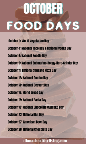 NATIONAL FOOD DAYS N OCTOBER NATIONAL FOOD DAYS CALENDAR OF NATIONAL FOOD DAY FOOD HOLIDAYS FOODIE HOLIDAYS NATIONAL WHAT DAY IS TODAY TODAY IS WHAT NATIONAL DAY