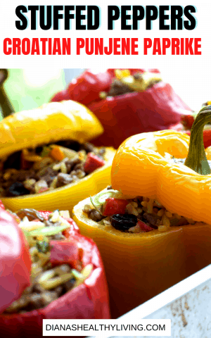 A delicious Croaitin stuffed pepper recipe, also known as Punjene Paprike. So delicious, try to stop at just one.  Make enough for leftovers. Punjene Paprike| punjena paprika | stuffed peppers | Croatian stuffed | peppers | stuffed capsicums | croatian stuffed peppers recipe | filled paprika |